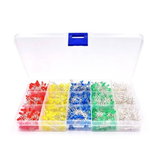 PHI1052183 – 1000 Piece 3MM LED Diode Globe Kit with Case – 5 Colours 02