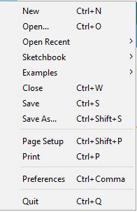 Arduino IDE File Drop Down Menu