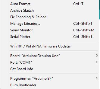 Arduino IDE Tools Menu