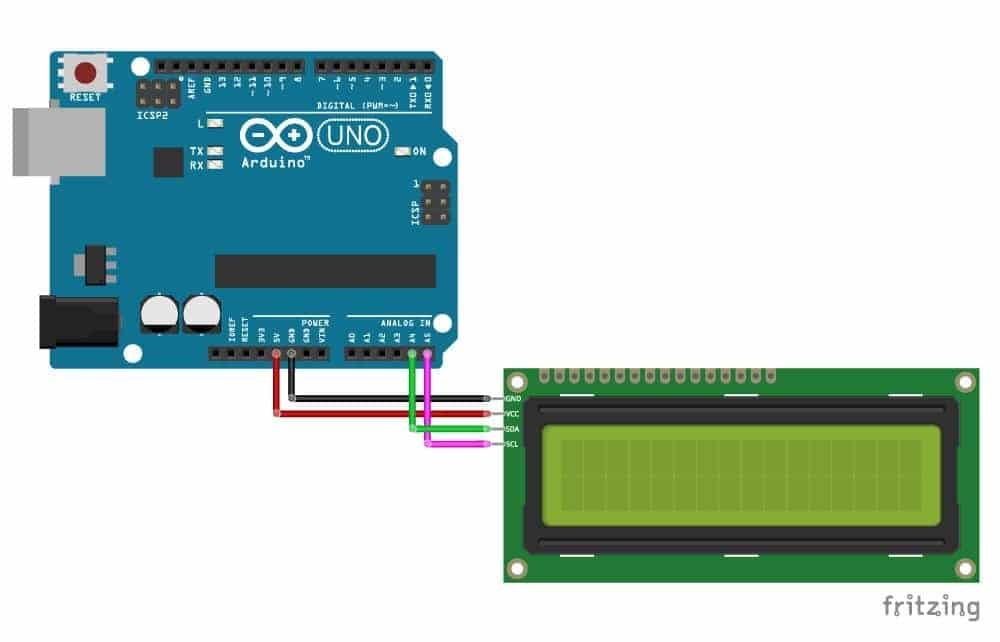 16x2 Display and UNO Wiring Image